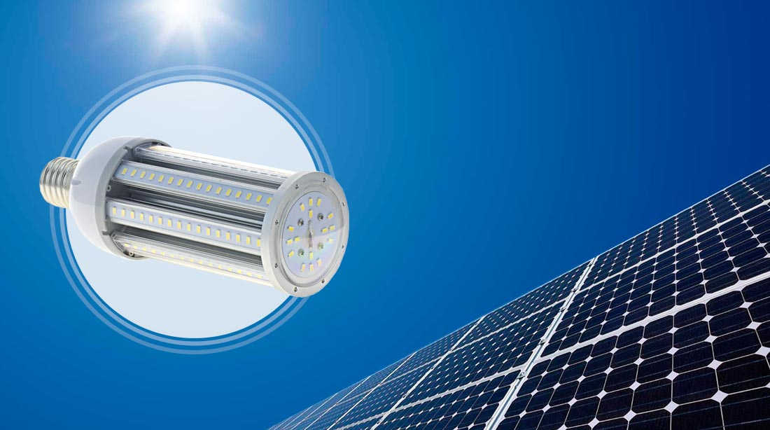 Farolas LED solares con bombillas LED