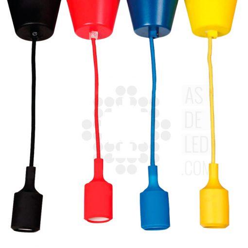 Lampara colgante de silicona y colores E27 01