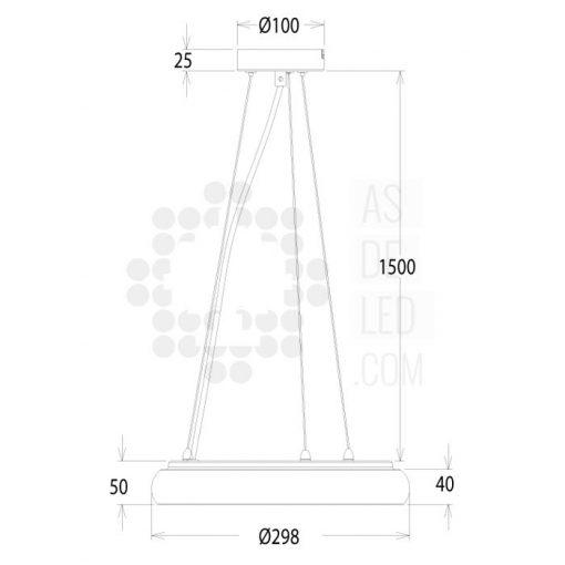 Lampara LED medidas OVALED 25W - LAC25ST28UP