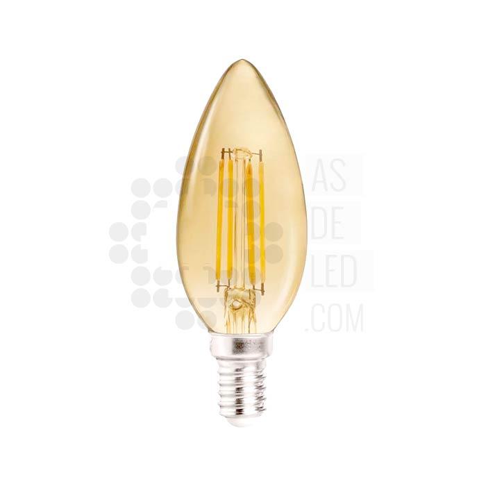 Comprar bombilla LED de filamento - Vela E14 - Cristal dorado