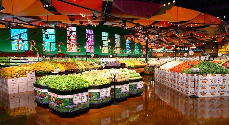 Ejemplo de iluminación LED en frutas y verduras