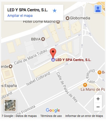 Mapa ubicacion LED Y SPA MADRID