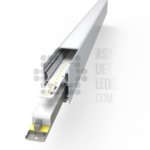 Comprar luminaria LED lineal, suspendida, aluminio, varios colores, interconectable - Render