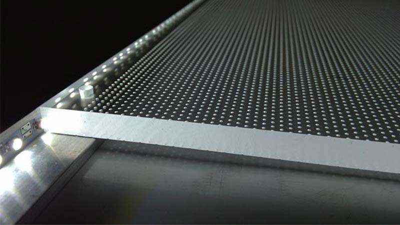 Lente óptica de PMMA en panel de LED con luz indirecta