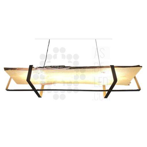 Comprar lámpara LED colgante de madera y hierro - Diseño rústico 01
