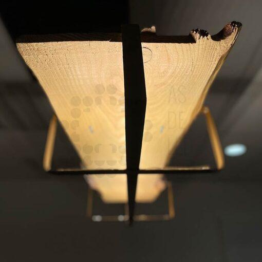 Comprar lámpara LED colgante de madera y hierro - Diseño rústico 03