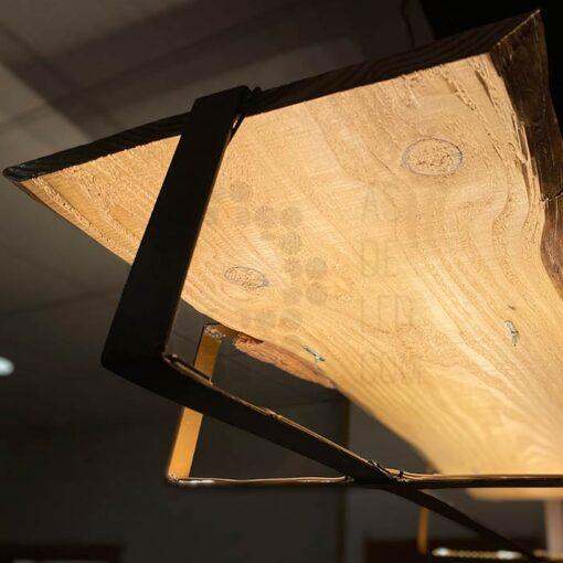 Comprar lámpara LED colgante de madera y hierro - Diseño rústico 04